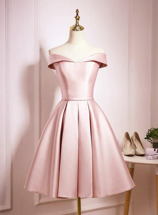 e7a85ae7ae98 Light Pink Off Shoulder Knee Length Bridesmaid Dress, Pink Satin Homecoming  Dress