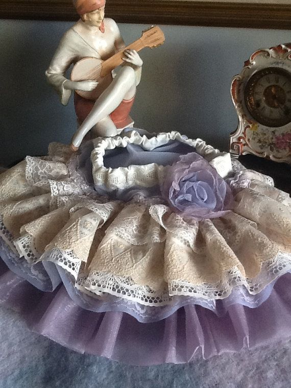 Vintage lace toddler lavender ecru ruffled skirt by by Babybonbons,