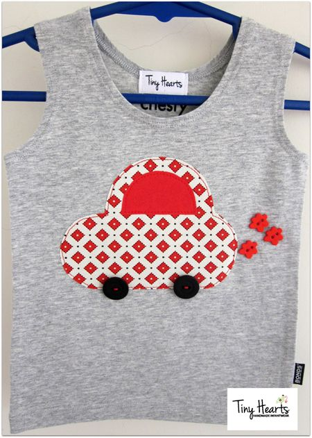 Little Fat Car Appliqued Boys Singlet.