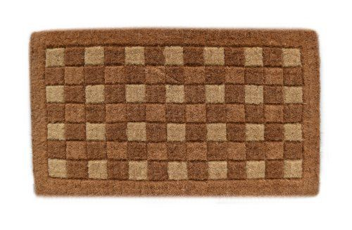 Imports Decor Traditional Coir Doormat, Checkerboard Pattern, 18-Inch by 30-Inch by Imports Décor. $42.81. Handwoven with 100-percent coir fibre. Beveled using three shades of coir fibre. Measures 18-inch by 30-inch by 1-1/2-inch. Durable, waterproof and superior scubbing power. Ideal for moderate to heavy-use traffic areas. Enhance the entrance of your home with this high quality, hand-tufted beveled coir doormat from Imports Decor. Handwoven from the best quality co...