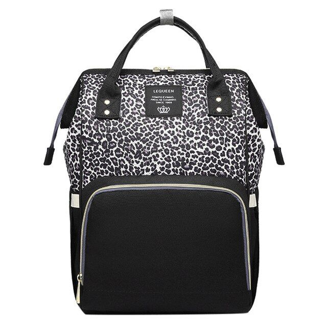 Leopard Baby Changing Bag Lequeen Diaper Bag with Changing Mat Multi-Function Large Capacity Waterproof Nappy Bag for Mom and Dad