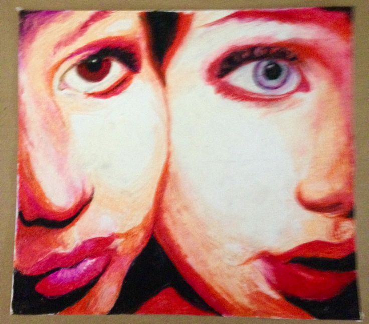 Pastel, half portraits, exaggerated pink.