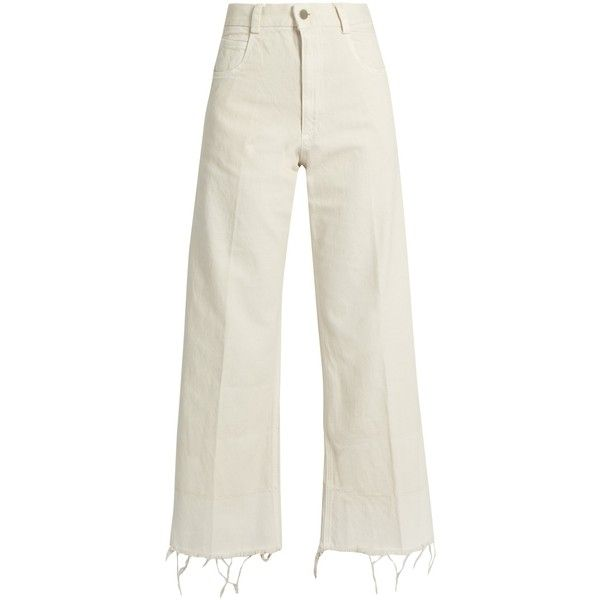 Rachel Comey Legion jeans ($345) ❤ liked on Polyvore featuring jeans, white, frayed hem jeans, high waisted wide leg jeans, light wash jeans, high-waisted jeans and light high waisted jeans