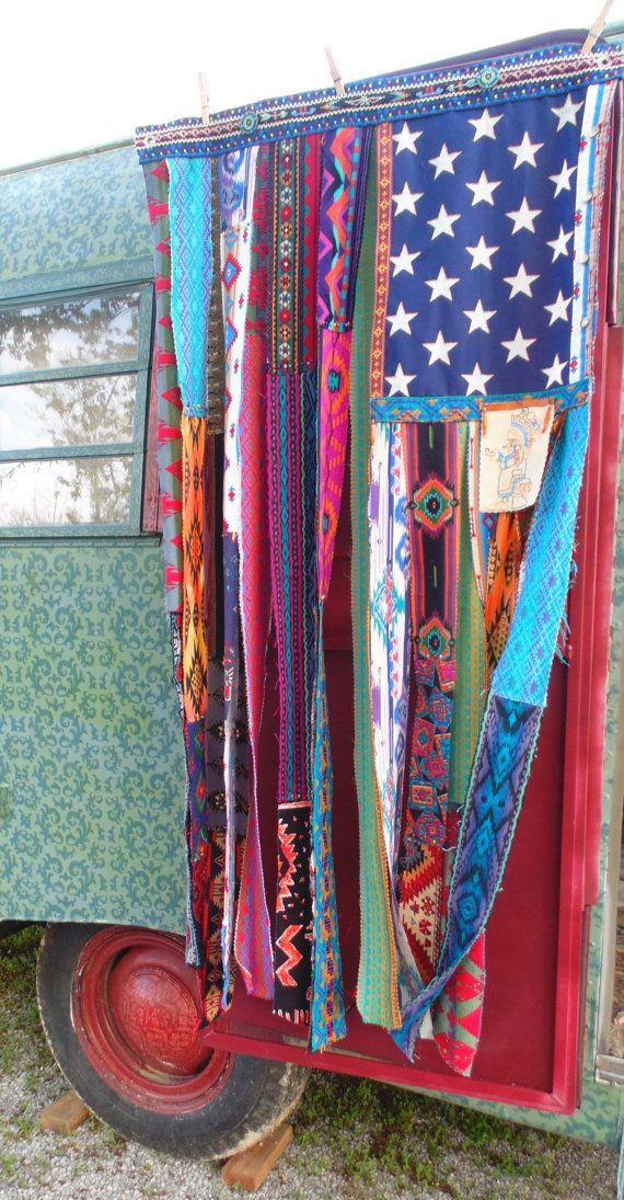 Boho American Flag Bohemian Beaded Curtain By