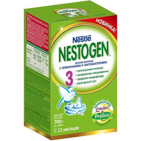 Nestogen 3 Заменитель с 12 мес. 700 г  — 635р. -----------------  Nestogen® 3 (Нестожен 3) Сухое молочко с пребиотиками и лактобактериями L.reuteri, без пальмового масла, для детей с 12 месяцев, 700 г- Молочко Nestogen® 3  содержит натуральные пищевые волокна Prebio® (пребиотики ГОС/ФОС), которые помогают пищеварению и способствуют формированию регулярного стула. Лактобактерии L.reuteri, входящие в состав молочка, помогают наладить комфортное пищеварение и способствуют становлению здоровой…