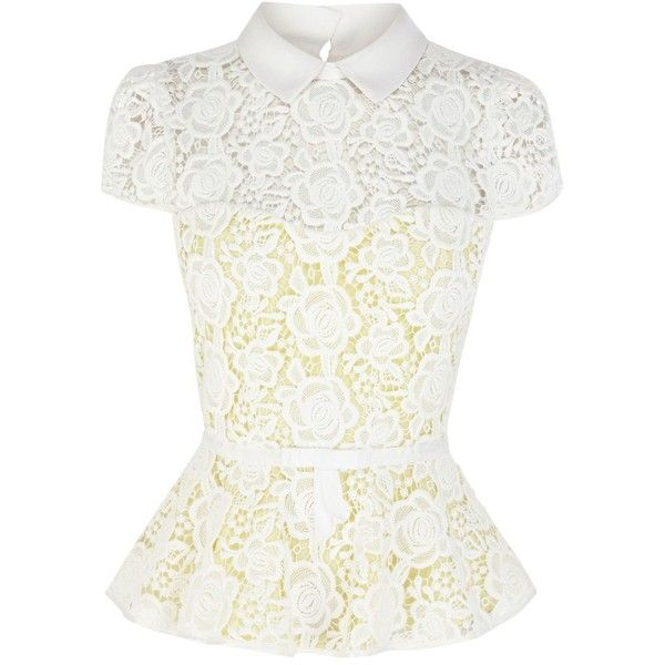 Karen Millen Cute feminine lace collection peplum top ($86) ❤ liked on Polyvore featuring tops, shirts, blouses, white, women, white top, white shirts, peplum tops, karen millen and lace peplum top