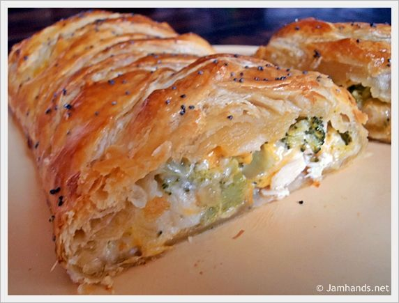 BROCCOLI CHEDDAR CHICKEN BRAID 2 cans Pillsbury Original Crescent Rolls (alternatively I used 2 sheets of puff pastry) 2 cups chicken chunks, cooked 2 cups cheddar cheese  2 cups broccoli, frozen, steamed and chopped ½ cup light mayonnaise 1 egg yolk poppy seeds