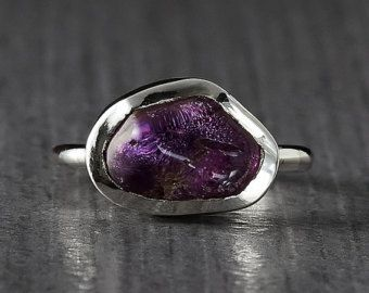 Free Form Amethyst Silver Ring - Made to order - Engagement Ring