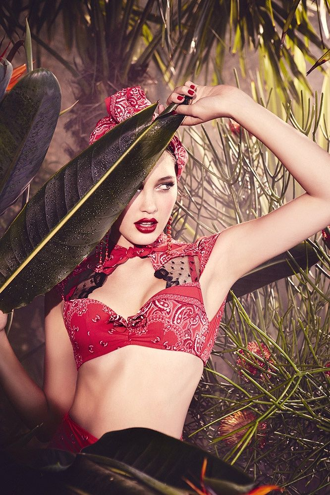 Model wears high-waist panties and lace embellishments lingerie for Chantal Thomass 2015 campaign