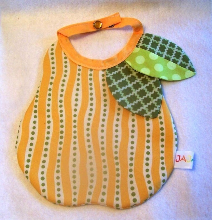 @Tara Thomas @April West Boutique Baby Bib Pear Fruit Design Choose from Two Color Accents