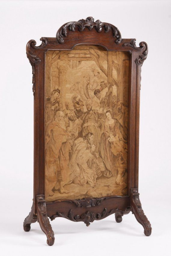 French Rococo Carved Oak Fire Screen With Belgian Tapestry Insert c. Mid 19th Century