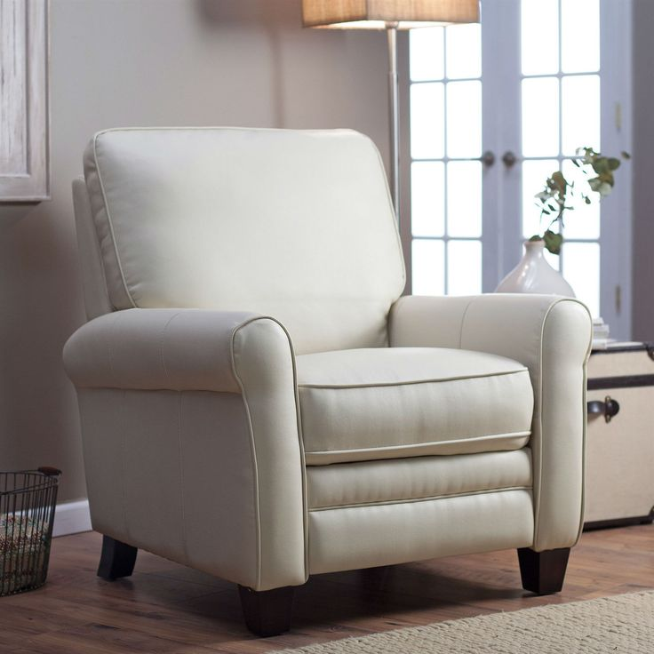 Recliner Sofa Soft Cream Bonded Leather Upholstered Club Chair Recliner with Espresso Legs