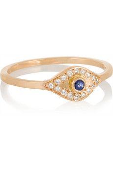 Ileana Makri Evil Eye 18-karat rose gold, diamond and sapphire ring   NET-A-PORTER
