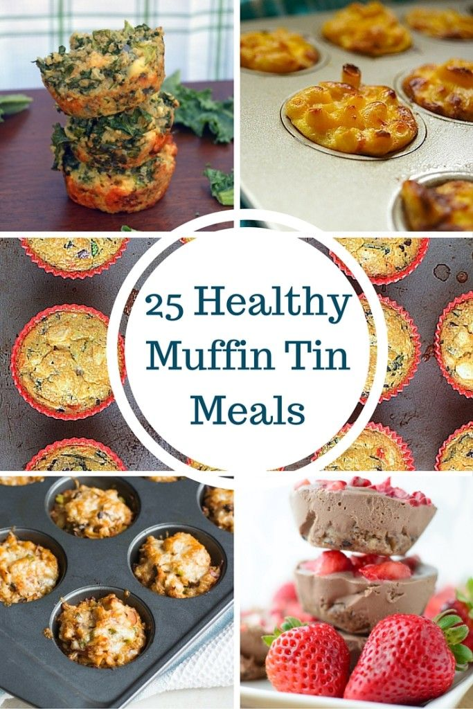 25 mini meals made in a muffin tin, including breakfast, lunch, dinner, and dessert. Every recipe developed by a registered dietitian. Recipe links on Mom's Kitchen Handbook.