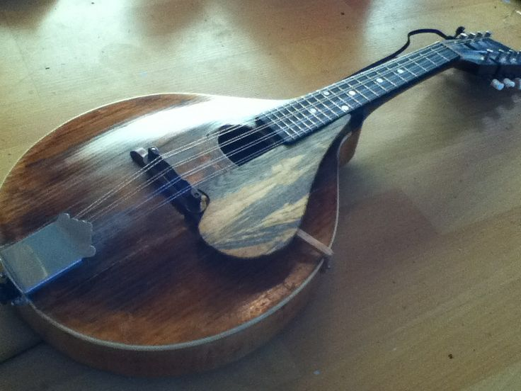 My boyfriends mandolin with a pick guard he made :)