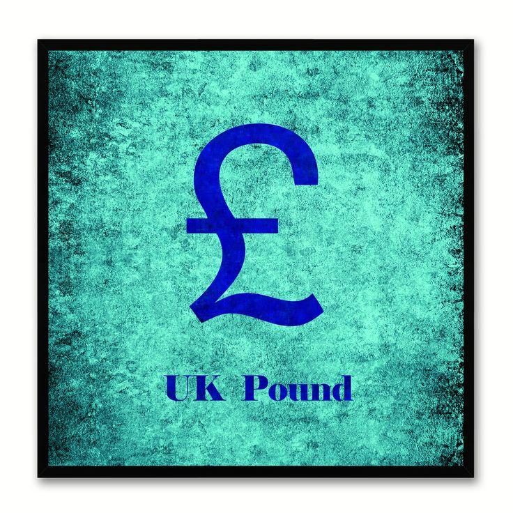 United Kingdom Pound Money Currency Aqua Canvas Print, Black Custom Frame