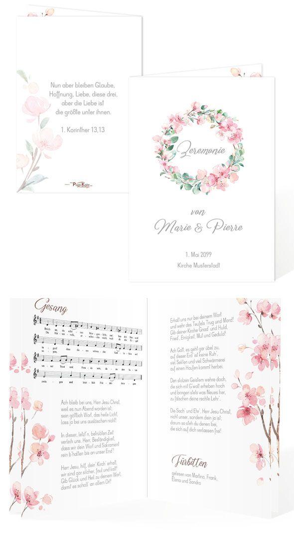 Kirchenheft Programm Hochzeit Kirschbluten Eukalytus Marie Pierre In 2020 Mit Bildern Kirchenheft Hochzeit Kirchenheft Hochzeitsprogramm