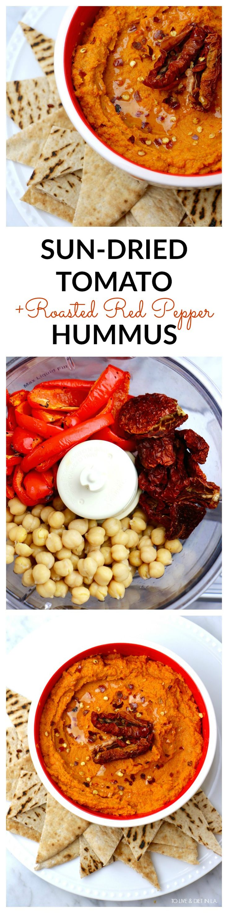 Roasted Red Pepper + Sun Dried Tomato Hummus - easy, healthy, homemade hummus with a TON of flavor! Sweet + slightly spicy and packed with nutritious whole food ingredients #hummus #healthyrecipes(Healthy Recipes Appetizers)