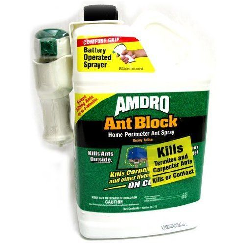 "Amdro Ant Block Ready to Use Home Perimeter Ant Spray, 1-Gallon by Amdro. Save 6 Off!. $22.22. Includes patented ""comfort grip"" battery operated sprayer system. This convenient, ready to use liquid spray kills termites and carpenter ants. Measures 5-inch length 9-inch width 12-inch height. Ant block ready to use home perimeter ant spray. It keeps killing for up to 3 months. This ant block ready to use home perimeter ant spray kills termites and carpenter ants. This ready to use liq..."