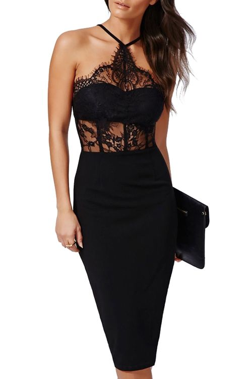 Lace Spliced Hollow Bodycon Dress