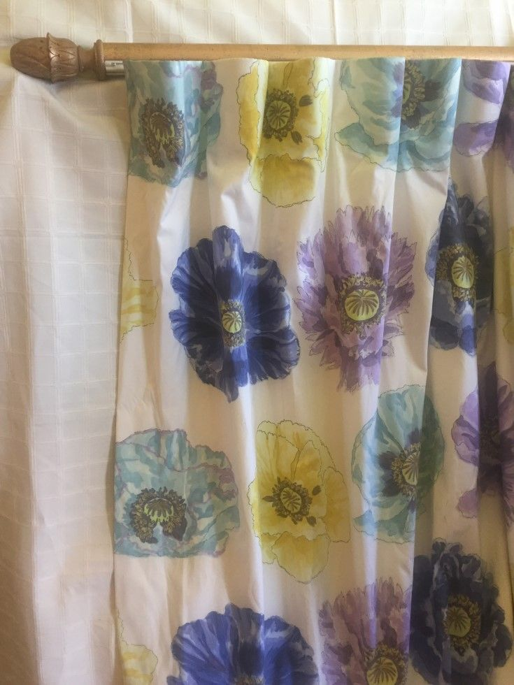 """These are stunners. Two Designer Guild curtains with a very large Roman blind, all in excellent condition. The name of the fabric is """"Carmen"""", curtains measure 109 cms wide, each top x 297 cms long $800.00 the pair. The blind is 207 cms wide x 218 cms long, $400.00."""