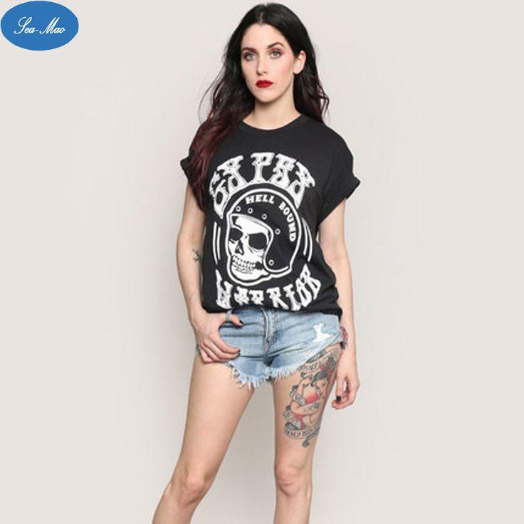 Sea mao Summer New Simple Character Skull Print T-shirt Funny Female Bat Sleeve t shirt Punk Gothic Casual Loose Ladies Tops