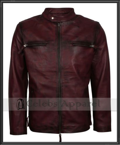 Urban Fashion Classic Vintage Cafe Racer Retro Biker Maroon Leather Jacket Men's