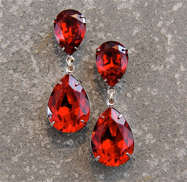 Ruby Red Rhinestone Earrings Swarovski Crystal Ruby Earrings Tear Drop Post Dangle Earrings Pear Duchess Hourglass Mashugana by MASHUGANA on Etsy https://www.etsy.com/listing/124250563/ruby-red-rhinestone-earrings-swarovski