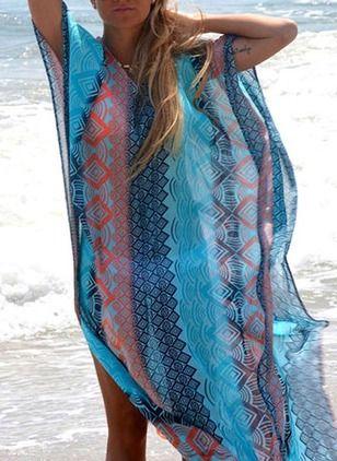 Polyester Geometrisch kurze Ärmel Maxi Lässige Kleidung Kleider (1036962) @ floryday.com