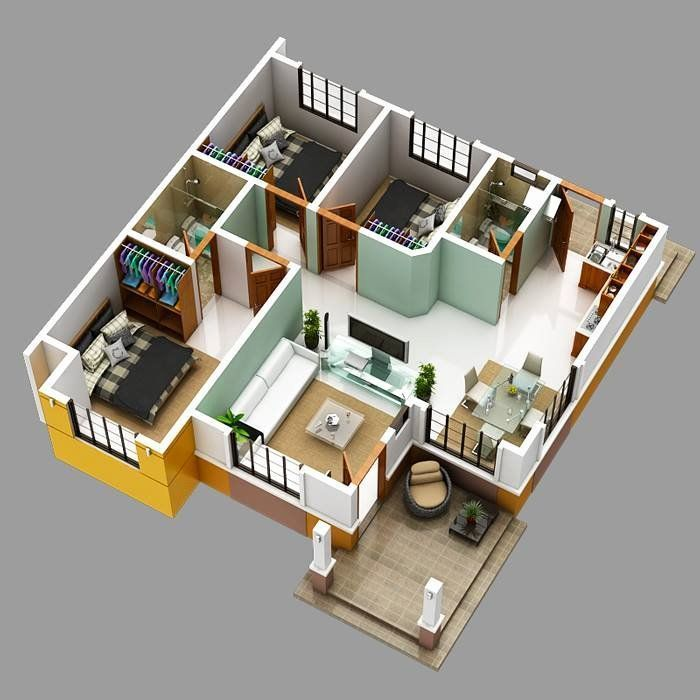 2 Bedroom Bungalow House Plans Awesome Modern Bungalow House With 3d Floor Plans Awesome Bedr Plan Maison Architecte Plan Maison 100m2 Plan De Maison Villa