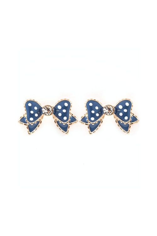 Polka Dot Bow Earrings in Navy on Emma Stine Limited