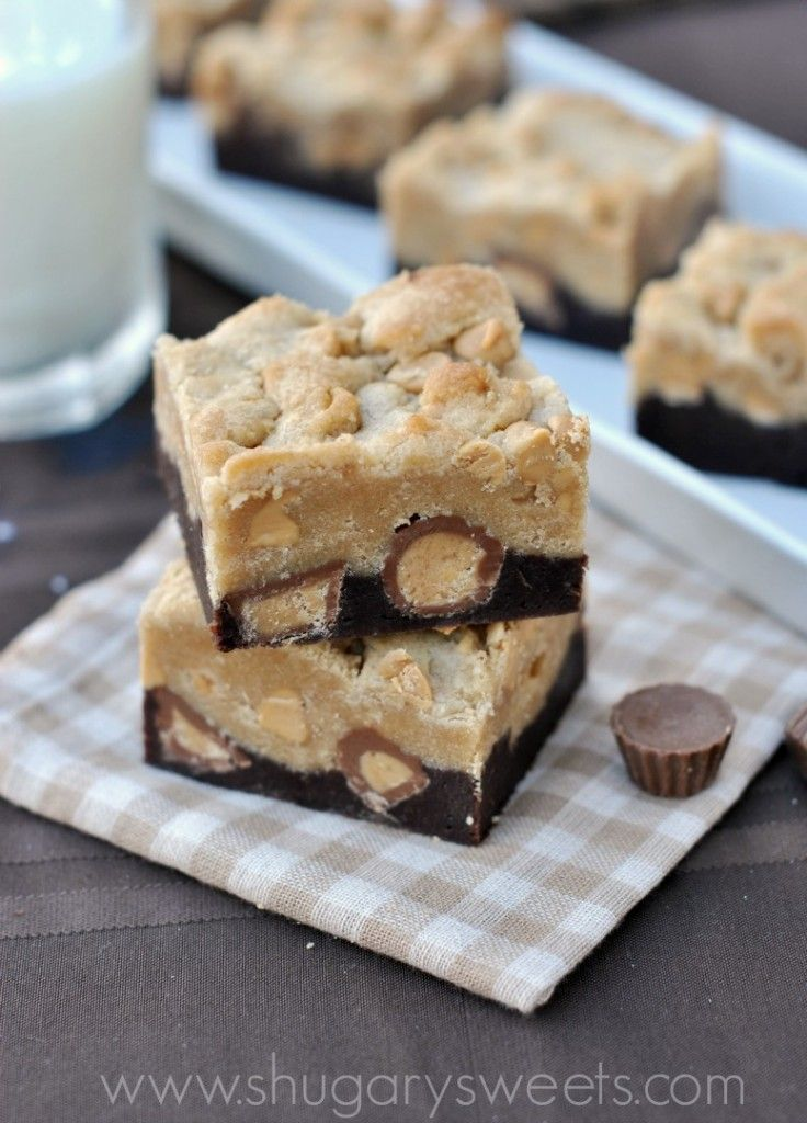 Peanut Butter Brookies: brownie base topped with peanut butter cookie and Reeses, a perfect treat! #reeses #brownies