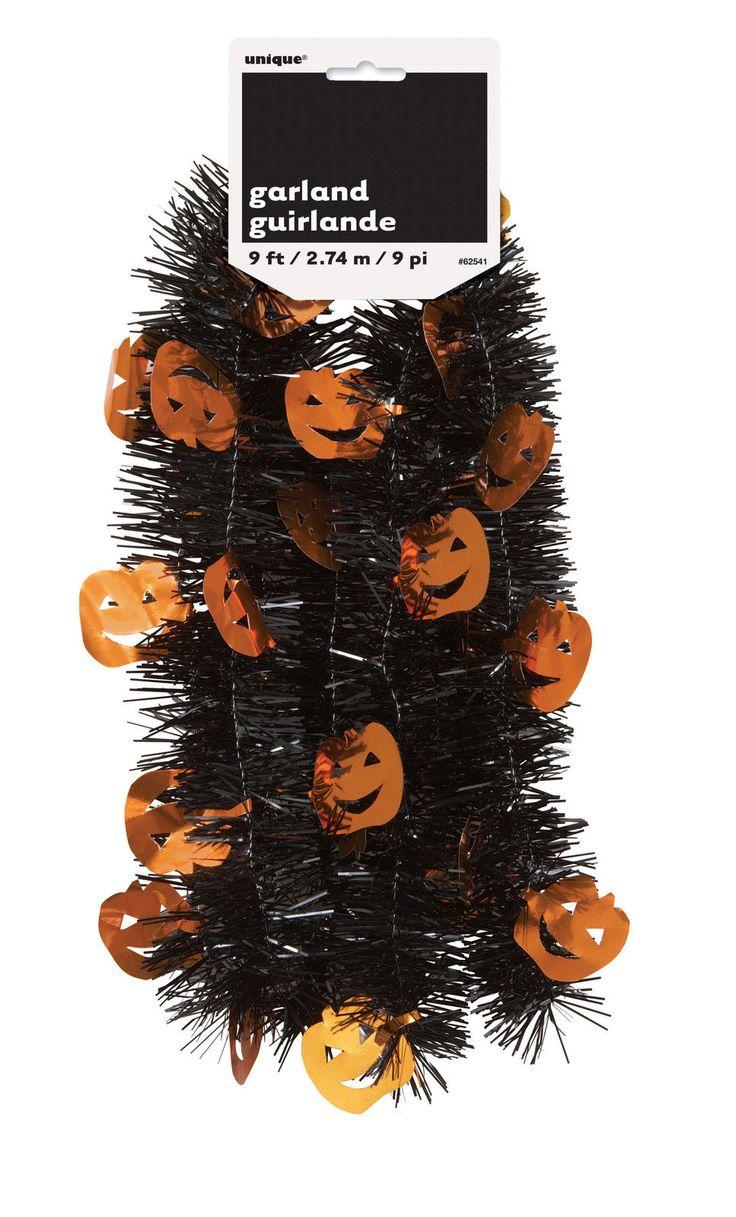 HALLOWEEN Pumpkin Tinsel Garland Decoration 9 feet long