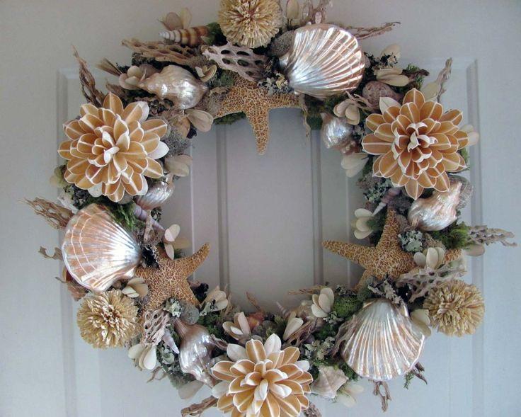 Sea shell wreath tropical beach shell wreaths stuff for Seashell wreath craft ideas