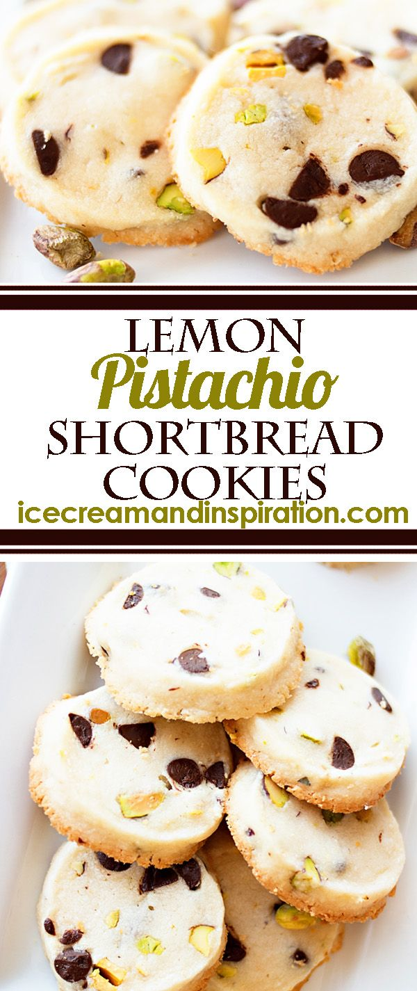 These Lemon Pistachio Shortbread Cookies will melt in your mouth and be the hit of any party! Perfect for wedding showers or baby showers, they really add a touch of class! Shortbread cookies recipe, butter cookies recipe, pistachio cookies recipe, lemon cookies recipe