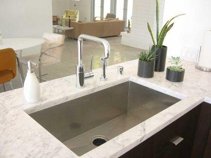 Zero Radius Blanco Sink In Carrara Marble Counter Jill Crawford Via Atticmag Modern Kitchen