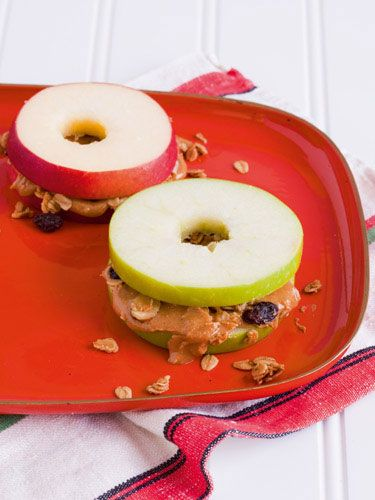 Crispy apple-wiches. You can substitute almond butter for peanut butter, or try low-fat or non-fat cream cheese mixed with raisins, other chopped fruit or shredded carrots instead of peanut butter