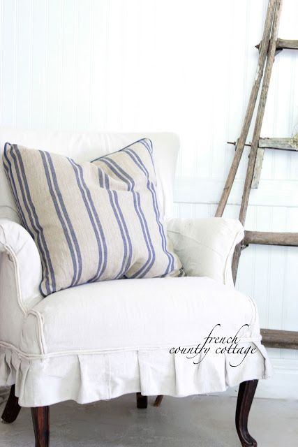 Simple Diy Chair Covers Stacking Sling Target French Country Cottage: Chunky Baskets & Stripe Pillows | Linens Pinterest ...
