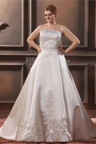 Embroderie robe de mariée grande taille bustier Ligne-A décolleté en cœur en satin [#ROBE209296] - robedumariage.info