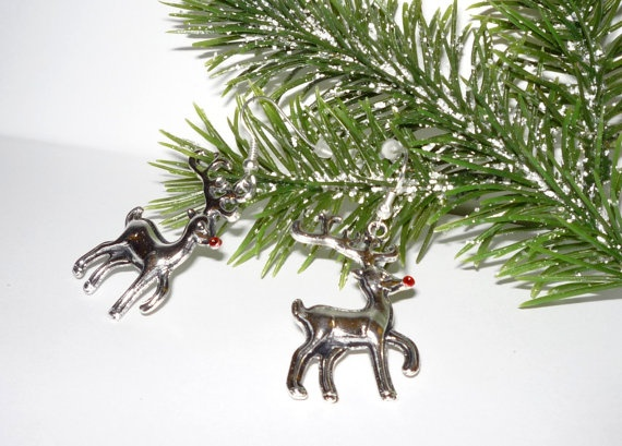 Rudolf The red Nose Reindeer Earrings  Holiday by junquete on Etsy, $10.00
