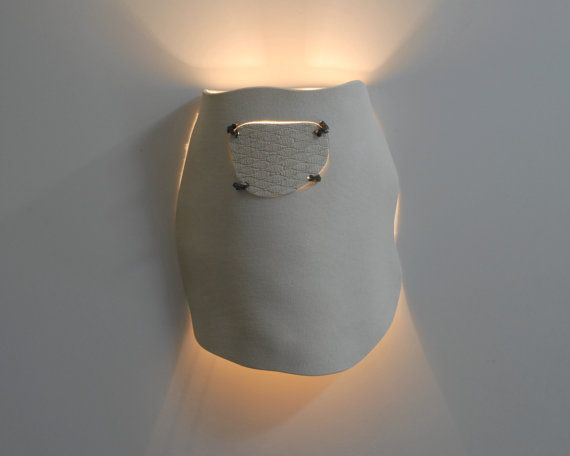 Sculptered ceramic wall light fixture  by hamutalbenjoceramics, $360.00