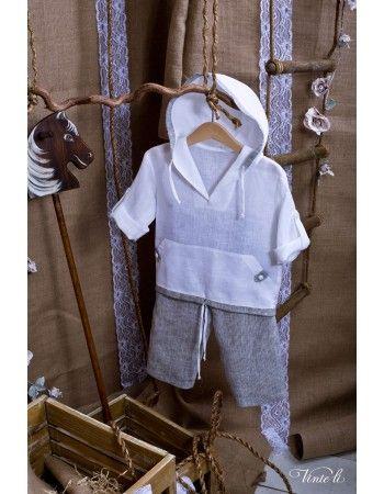 Χειροποίητο βαπτιστικό  για αγόρι Vinte Li. Αποτελείται απο παντελονάκι μονόχρωμο και πουκαμισάκι με κουκούλα.