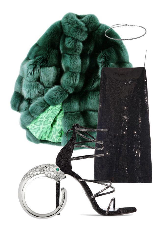 dinner in Paris by distressqn on Polyvore featuring polyvore, fashion, style, Yves Saint Laurent, ESCADA, Stuart Weitzman, Cartier, Jack Vartanian and clothing