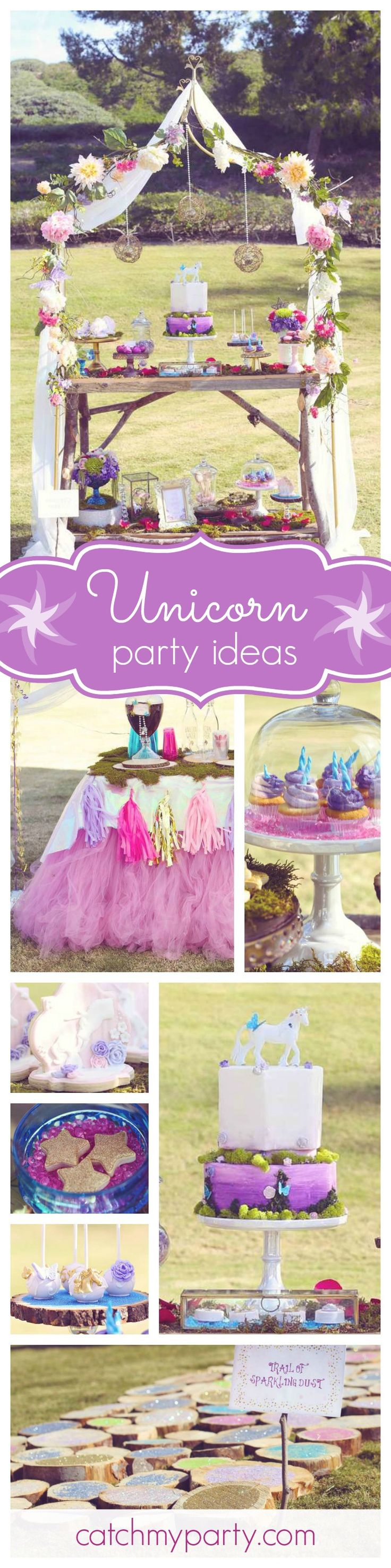 This Unicorn Princess birthday party is absolutely gorgeous! You won't want to miss it. The dessert table is a dream! See more party ideas at CatchMyParty.com