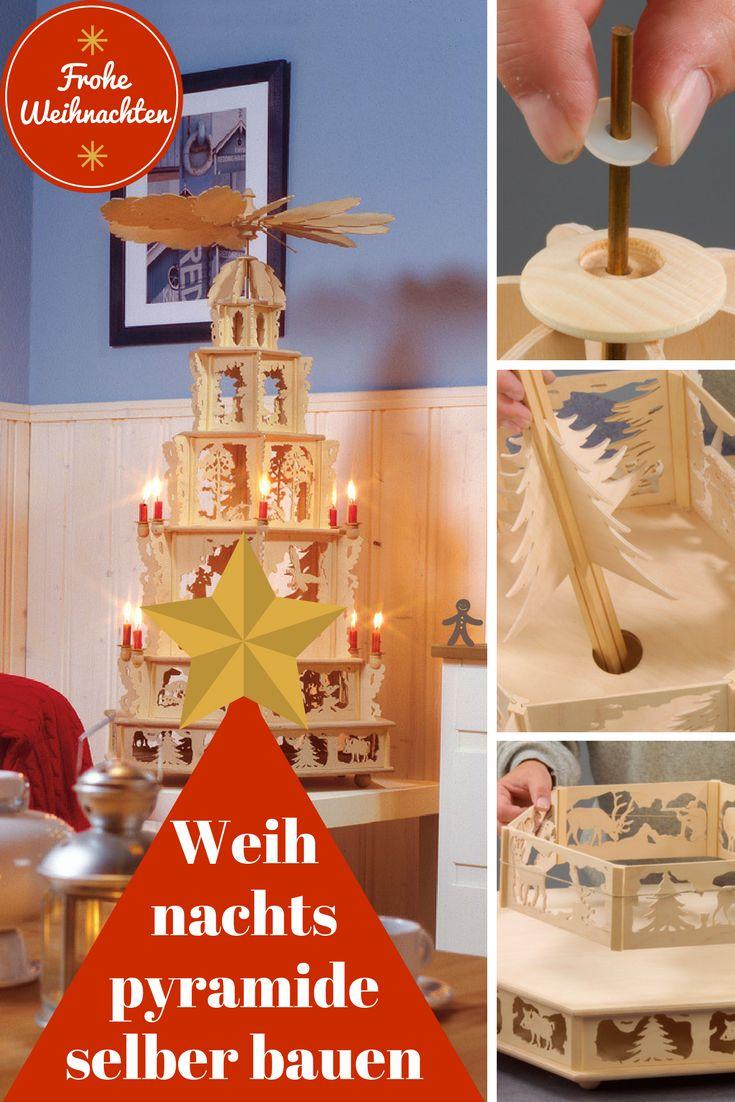 Unsere Weihnachtspyramide ist aufgebaut wie ein Guckkasten, in dem zwei Tännchen langsam rotieren!