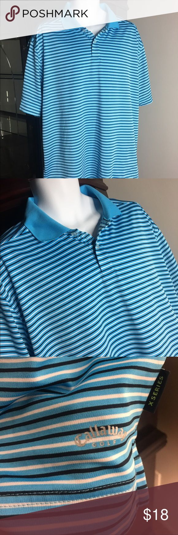 Men's blue striped Callaway Golf shirt You are purchasing a Callaway Golf men's shirt size XL, has no flaws in pristine condition      Our #1 Goal is customer satisfaction. We love to treat our customers with the best service. Feel free to ask any questions if you have any   GO CHECK OUT OUR OTHER NAME BRAND ITEMS   FEEDBACK: we strive to earn positive 5 star feedback for all items. Callaway Shirts Polos