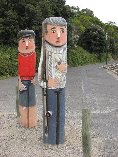 """Geelong, Victoria, Australia - """"Father and Son Fishing"""" Bollard No 37 - A favourite pastime in the past, and enduring to the present."""