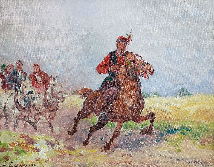 Adam SETKOWICZ (1876-1945)  Drużba olej, płótno naklejone na tekturę; 19,5 x 24,5 cm;