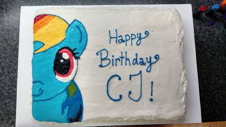 Free-handed Rainbow Dash on a cake. First time attempting without a template! #baking #cooking #food #recipes #cake #desserts #win #cookies #recipe #cakes #cupcakes