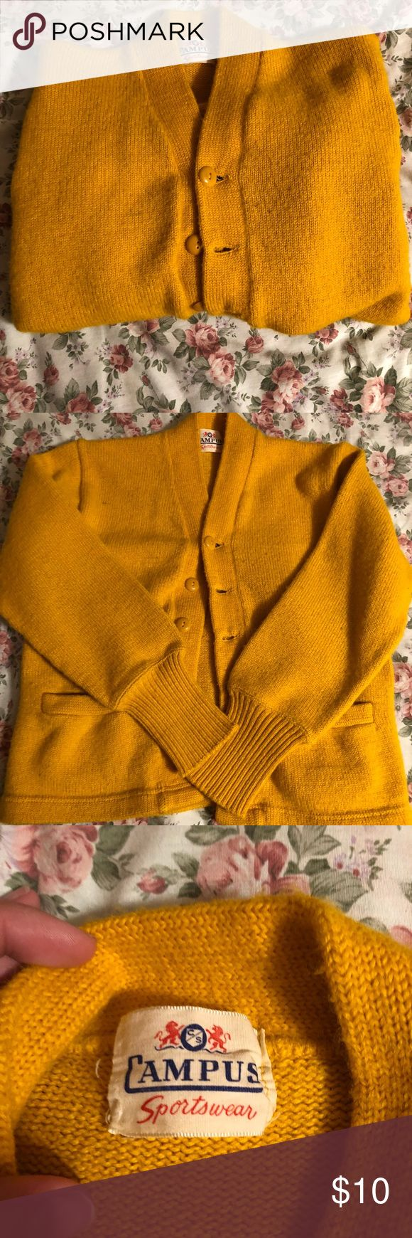 Vintage Yellow/Gold Cardigan Does not list a size but I would say a small or medium. In great condition no marks or stains. SO cute on! Vintage Sweaters Cardigans